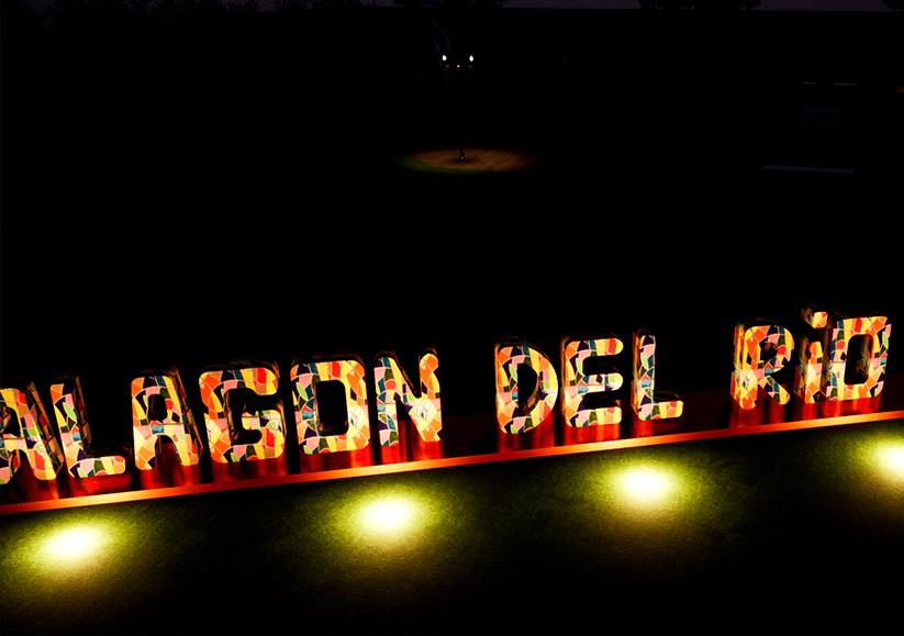 Letras Alagón del Rio con iluminación