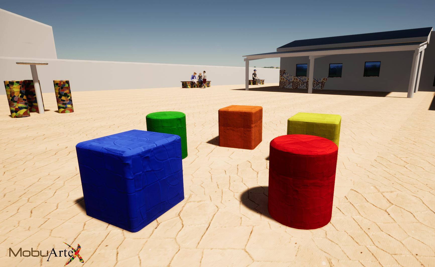 Banco Modelo Puff - Vista 3D