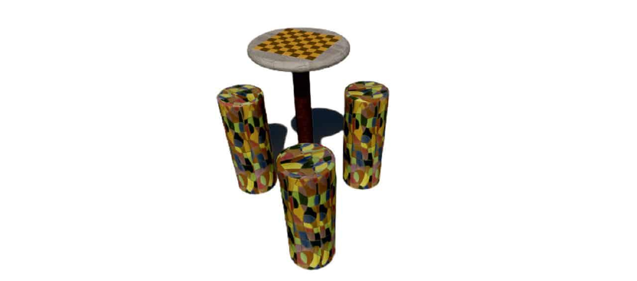 Conjunto de mobiliario Urbano Valdivia