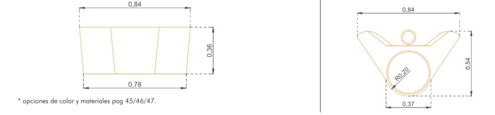 Macetero Colgante Modelo Orellana - Acotaciones
